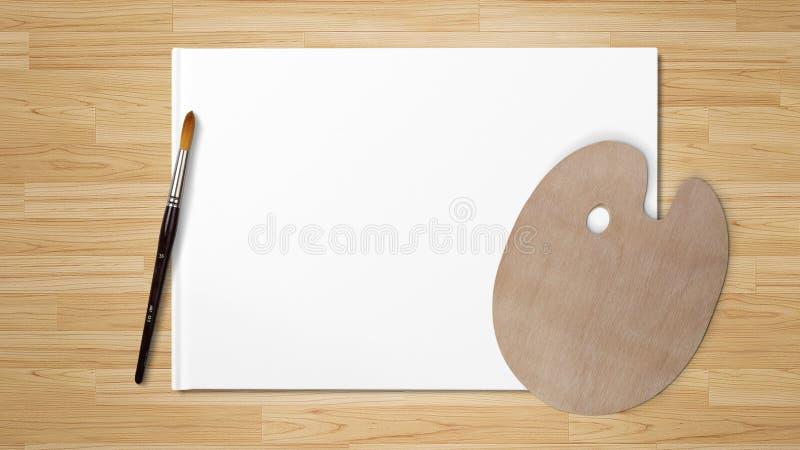 Nieuw houten die palet met kunstborstel, op witte achtergrond en houten achtergrond wordt geïsoleerd stock foto
