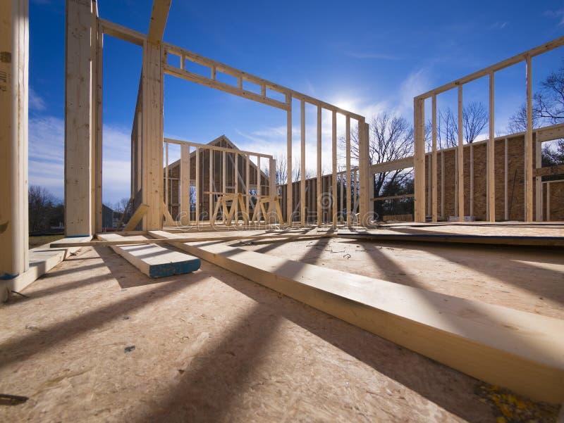 Nieuw huis frame bouw royalty-vrije stock afbeeldingen