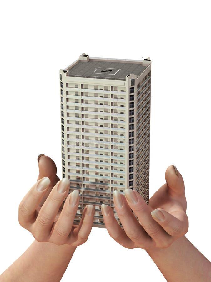 Nieuw huis in menselijke handen stock afbeelding