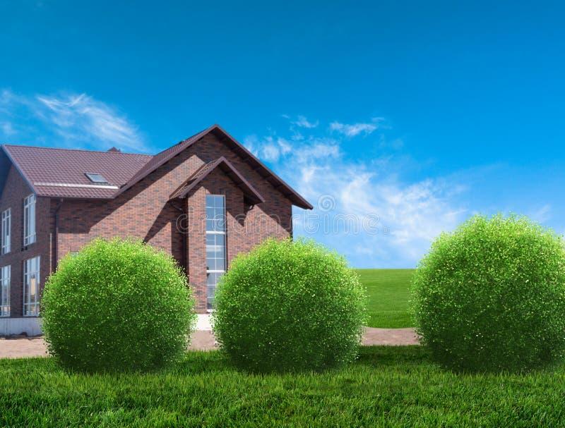 Nieuw huis met tuin op plattelandsgebied stock fotografie