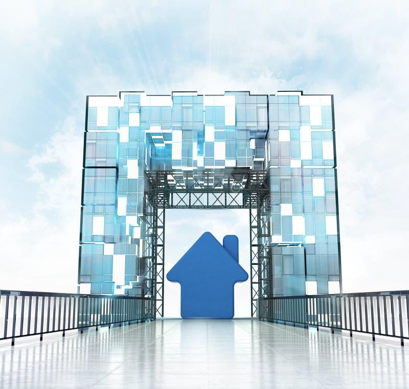 Nieuw huis onder de grote bouw van de ingangsgateway stock illustratie