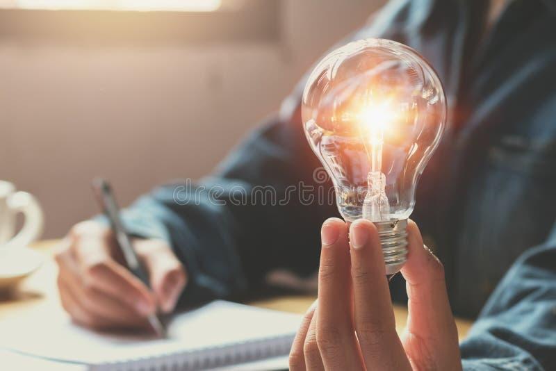 nieuw idee en creatief concept voor de holdingsli van de bedrijfsvrouwenhand stock fotografie