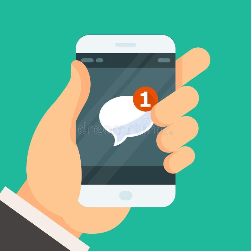 Nieuw inkomend bericht - e-mail ontvangen pictogram op smartphone royalty-vrije illustratie