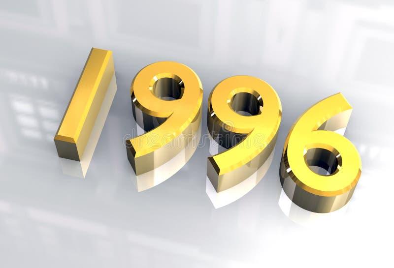 Nieuw jaar 1996 in (3D) goud stock illustratie