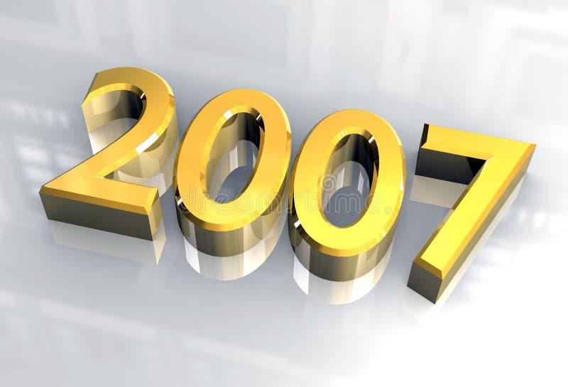 Nieuw jaar 2007 in (3D) goud royalty-vrije illustratie