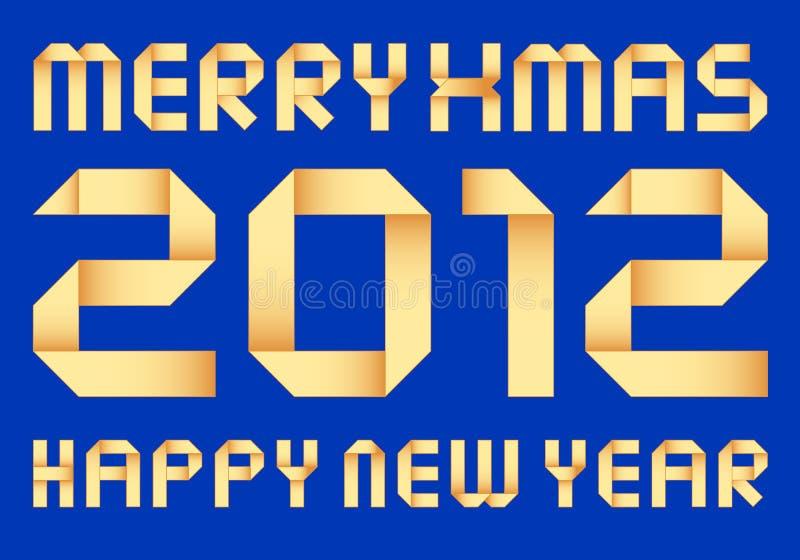 Nieuw jaar 2012, vectororigami stock illustratie