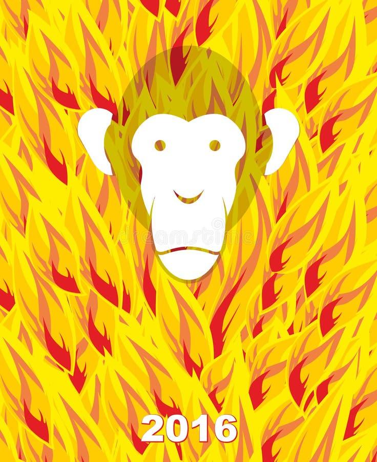 Nieuw jaar 2016 Aap op vlamachtergrond Jaar van Brandaap stock illustratie