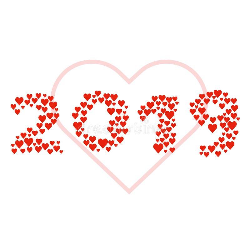 Nieuw jaar 2019 concept - liefdeteken vector illustratie