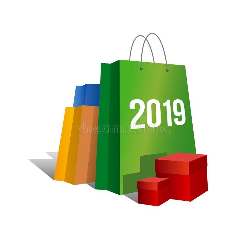 Nieuw jaar die - 2019 winkelen stock illustratie
