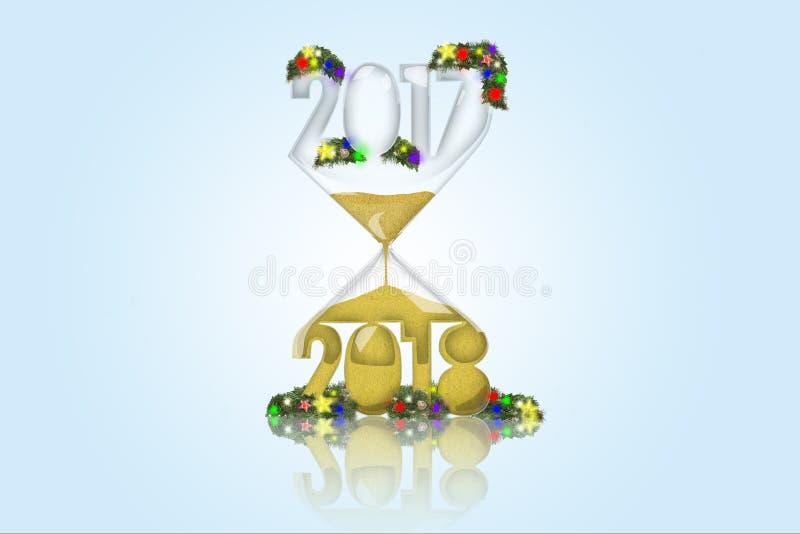 Nieuw jaar in een zandloper stock afbeeldingen