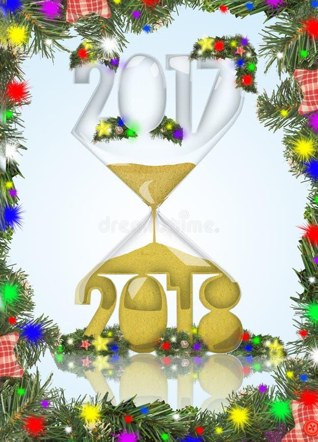 Nieuw jaar in een zandloper royalty-vrije stock afbeeldingen