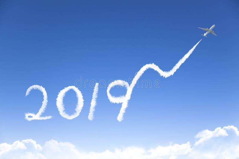Nieuw jaar 2019 en bedrijfs de groeiconcept het trekken door airpl royalty-vrije stock foto