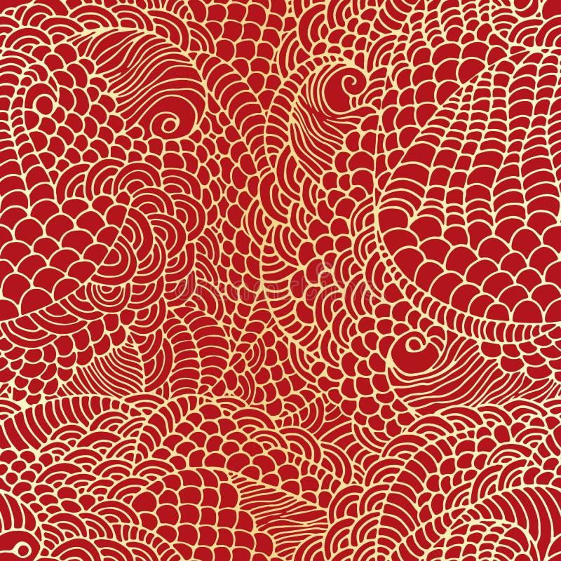 Nieuw jaar, gouden Chinese backgroun dmade van krabbels Naadloos feestelijk patroon voor het ontwerp van de de wintervakantie Een stock illustratie