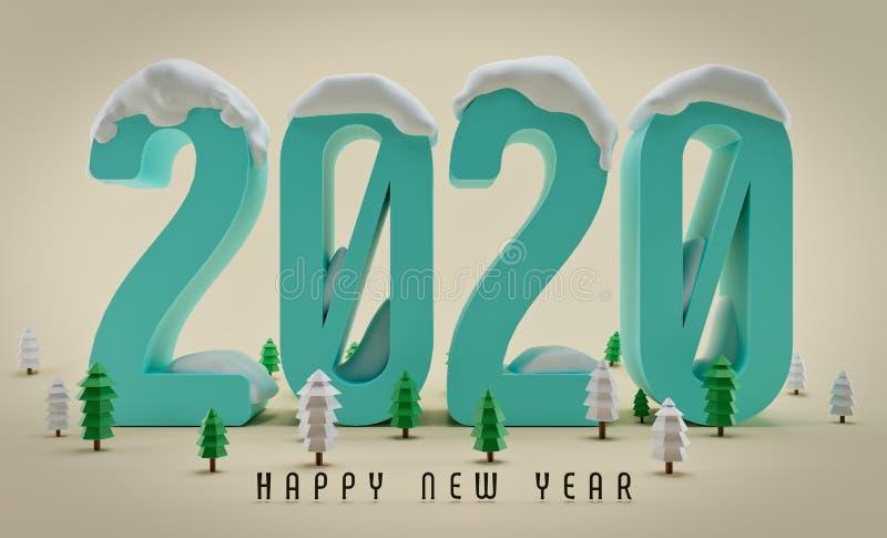 Nieuw jaar 2020, Groetkaart royalty-vrije stock afbeeldingen