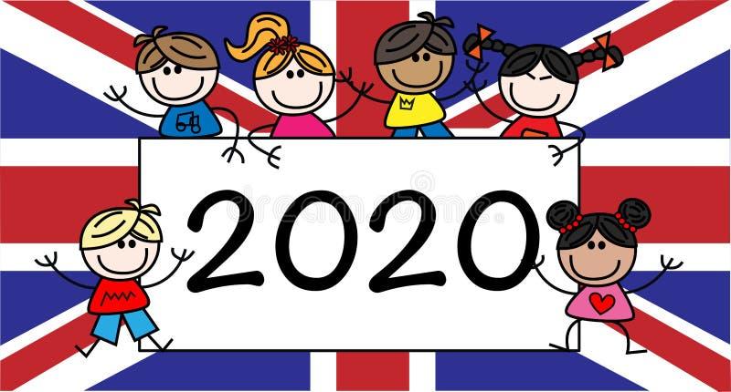 Nieuw jaar 2020 header-kalender VS vector illustratie