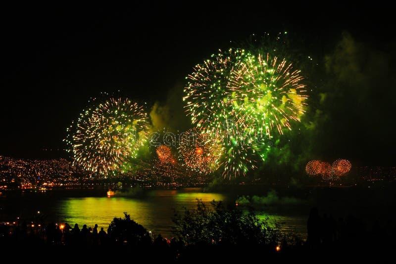 Nieuw jaar in het overzees van Chili royalty-vrije stock fotografie