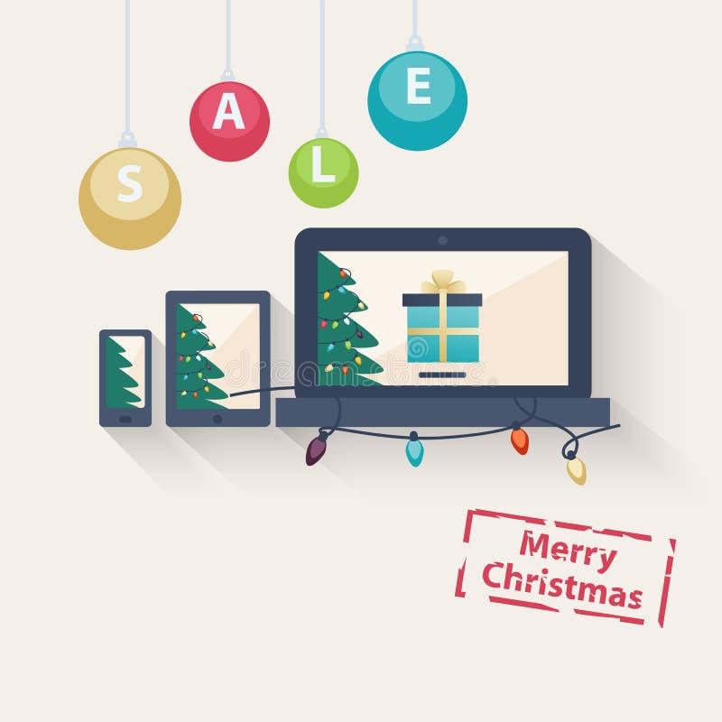 Nieuw jaar of Kerstmis online verkoopconcept vector illustratie