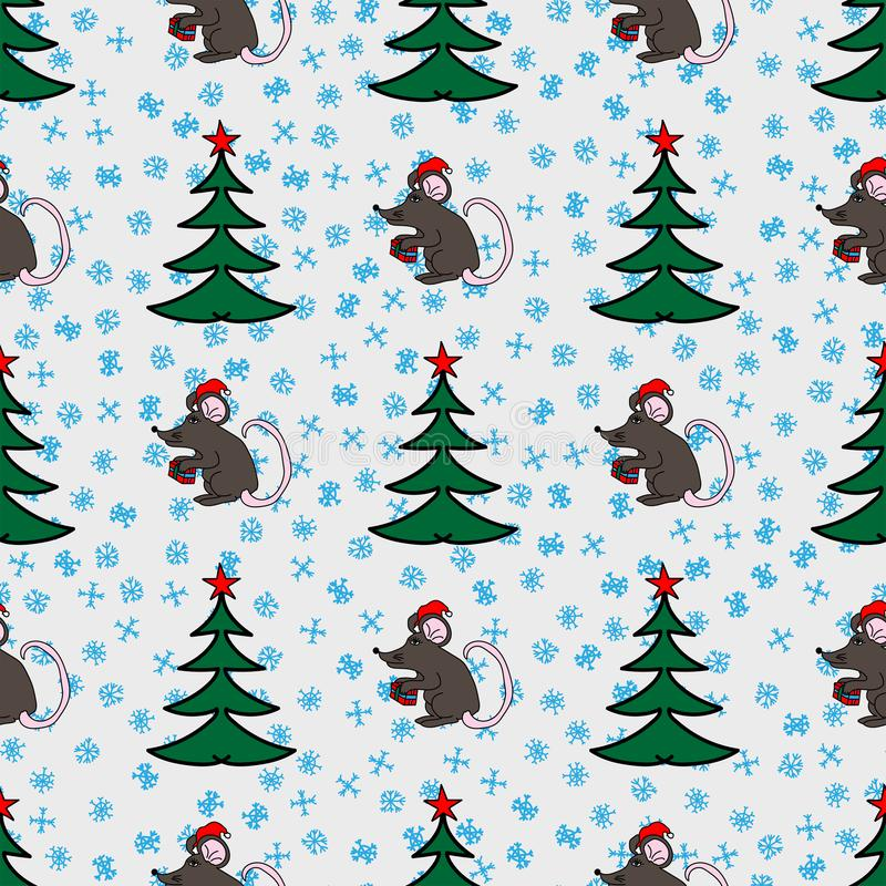 Nieuw jaar naadloos patroon met met de hand getrokken Kerstbomen, ratten en sneeuwvlokken Vector illustratie vector illustratie