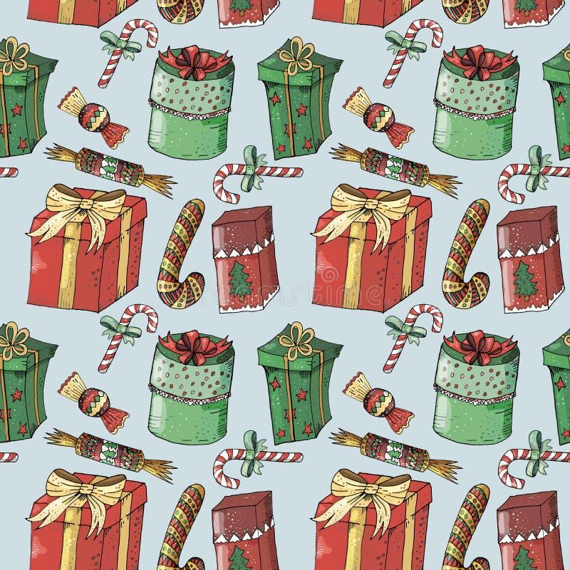 Nieuw jaar naadloos patroon op blauwe achtergrond stock illustratie