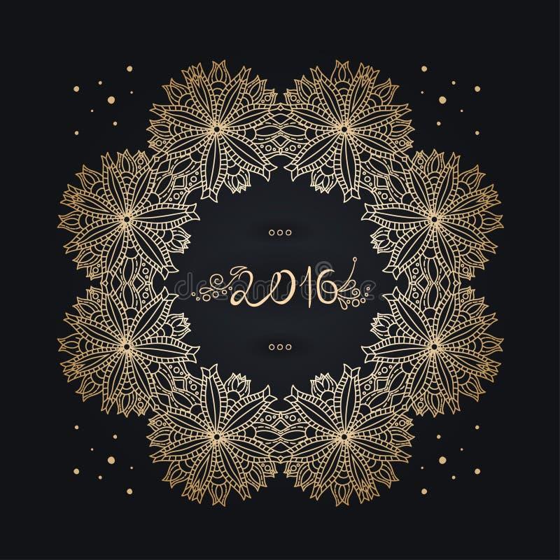 Nieuw jaar 2016 oude inschrijving, tex Gouden frame mandala vier stock illustratie
