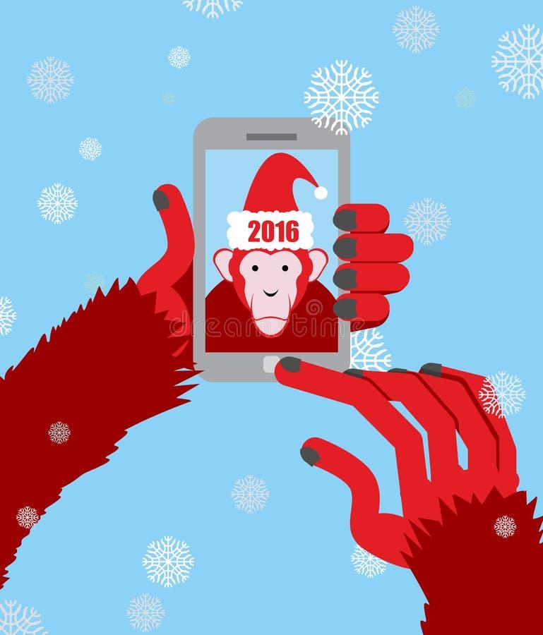 Nieuw jaar selfie De aap Santa Claus met een kap maakt een foto op een Sm stock illustratie