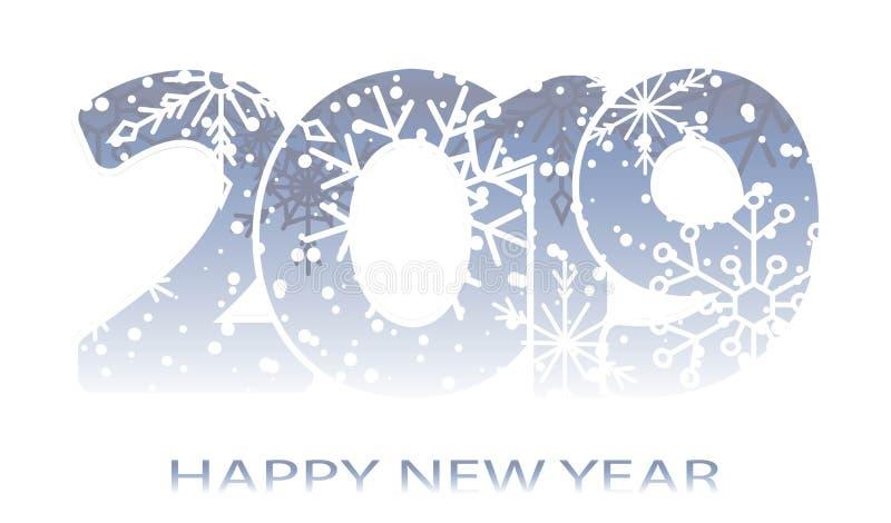 Nieuw jaar 2019 Tijdschema Witte inschrijving, vrolijke Chrismas Feestelijke moderne minimalistische Creatieve ruimten Donkere ac stock illustratie