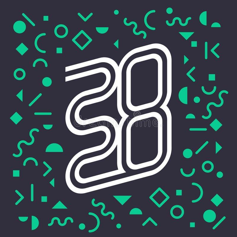 Nieuw jaar 2020, vectorachtergrond met abstracte geometrische elementen Het vectorbrochure of kalendermalplaatje van het dekkings vector illustratie