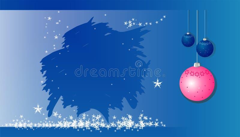 Nieuw jaar & Vrolijke Kerstmisbanner, prentbriefkaar met nieuwe jaarballen, sneeuwvlokken, ijzige patronen vector illustratie