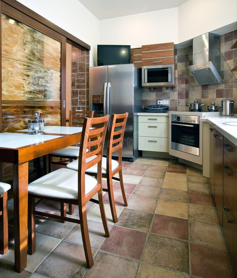 Nieuw keukenbinnenland stock foto's