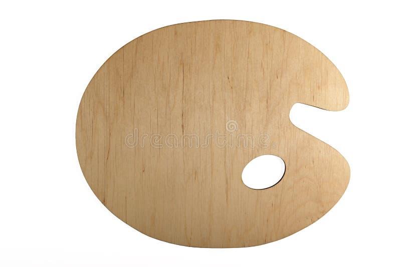 Nieuw, klassiek, houten palet van kunstenaar Isolated op witte achtergrond Mening van hierboven stock afbeelding