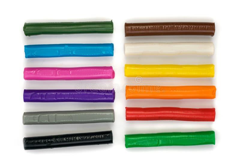 Nieuw 12 Kleur Modelleringsklei, Plasticine, Deeg, of Doh-Stokken stock foto