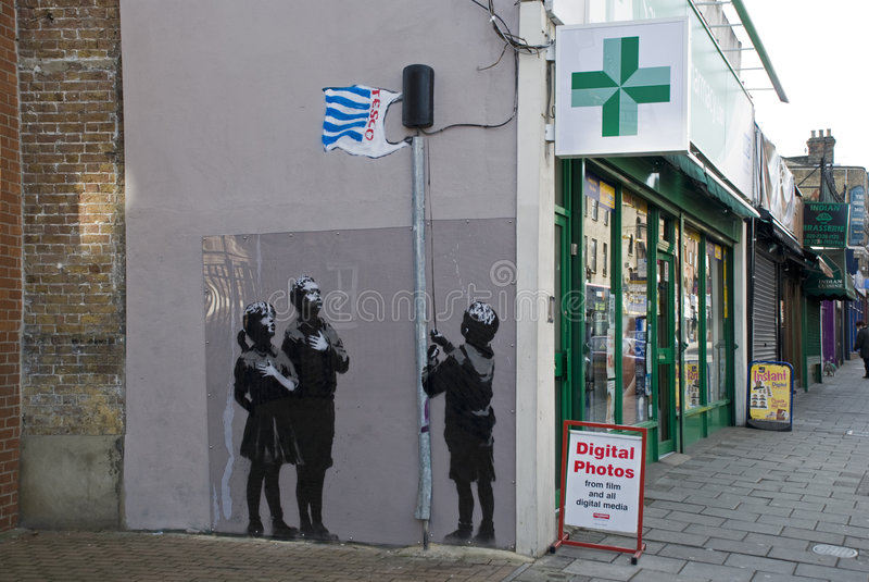 Nieuw kunstwerk Banksy stock fotografie