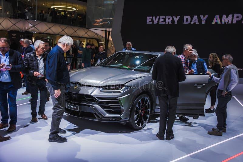 Nieuw Lamborghini Urus Tentoonstellingscentrum in Genève in 2019 stock afbeelding