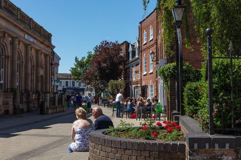 Nieuw Market Street, Beccles, het UK, Juni 2019 stock afbeelding