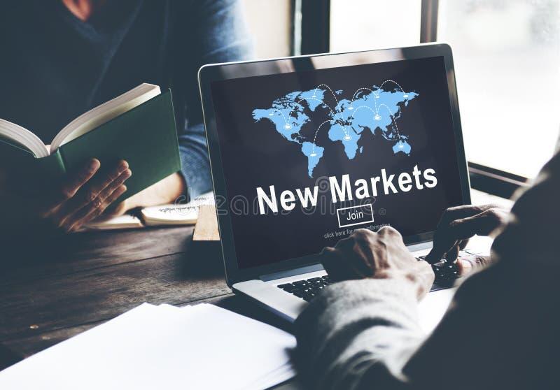 Nieuw Markten Bedrijfsinnovatie Globaal Bedrijfsconcept stock fotografie