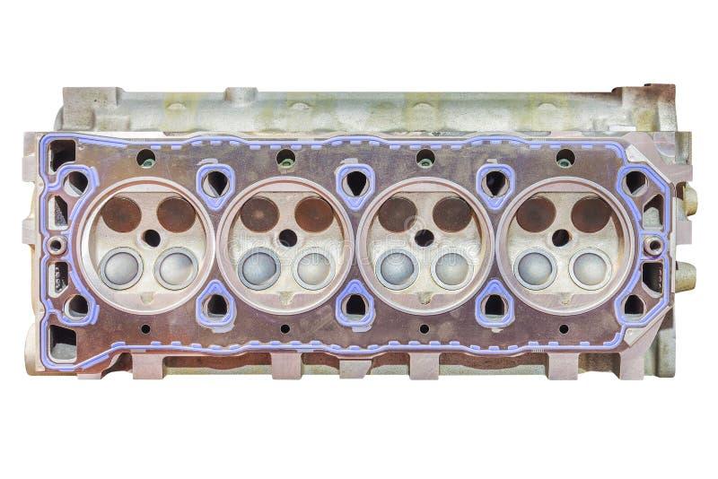 Nieuw motor van een autoblok met vier die cilinders op wit wordt geïsoleerd stock foto's
