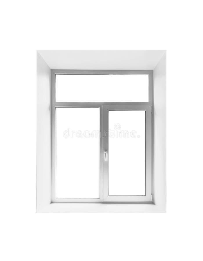 Nieuw plastic leeg die venster op wit wordt geïsoleerd stock afbeelding