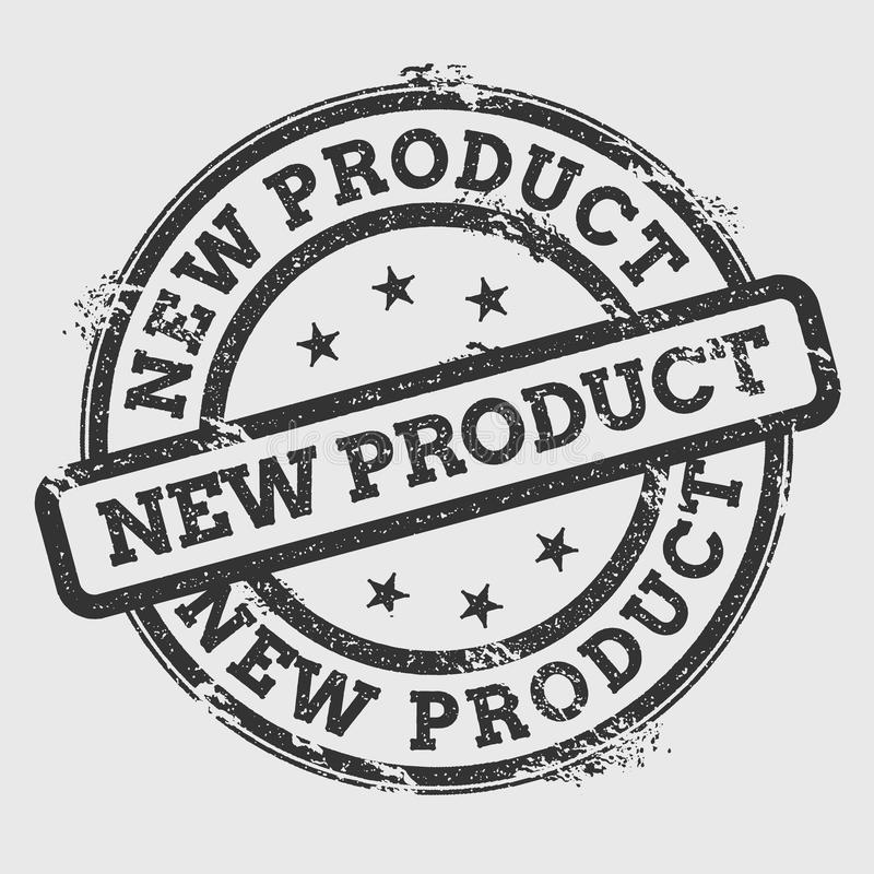 Nieuw product rubberdiezegel op wit wordt geïsoleerd vector illustratie