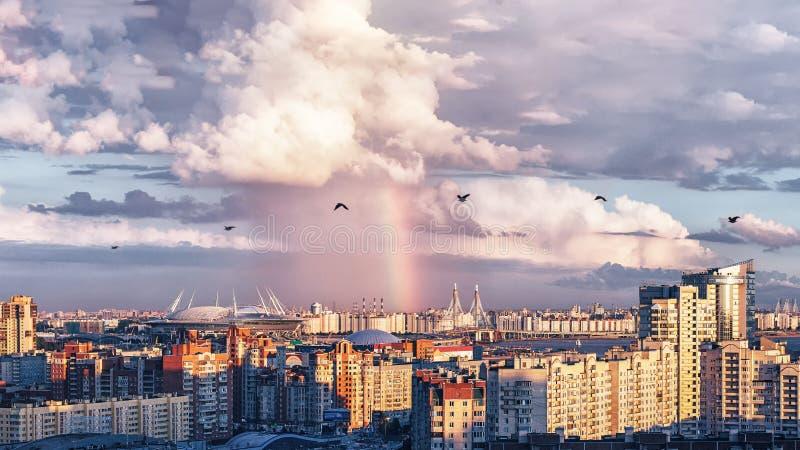 Nieuw Stadion in heilige-Petersburg Rusland voor de Wereldbeker 2018 van FIFA en de Euro 2020 gebeurtenissen van UEFA royalty-vrije stock afbeeldingen