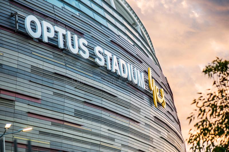 Nieuw Voetbalstadion in Westelijke Australiër royalty-vrije stock afbeeldingen