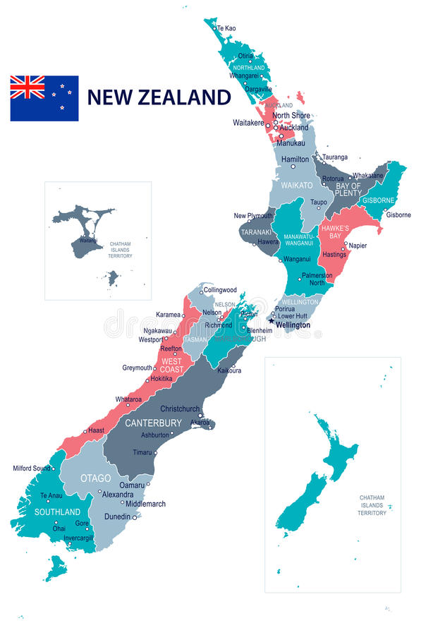 Nieuw Zeeland - kaart en vlagillustratie