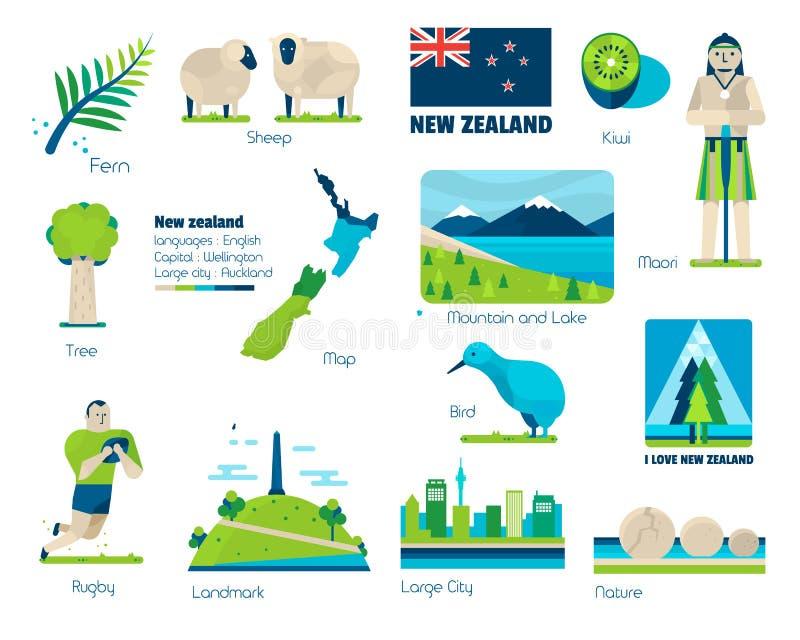 Nieuw Zeeland, Tekens en symbolen vector illustratie