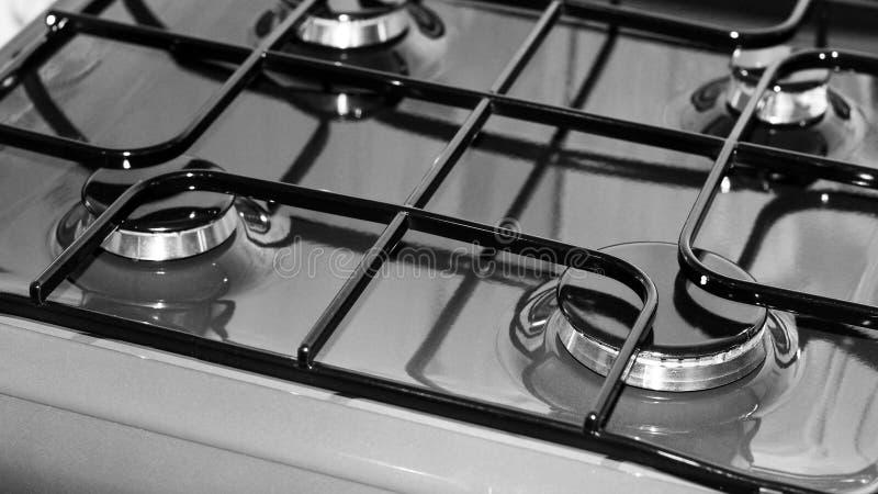 Nieuw zwart-wit gasfornuis zo dicht, stock afbeeldingen