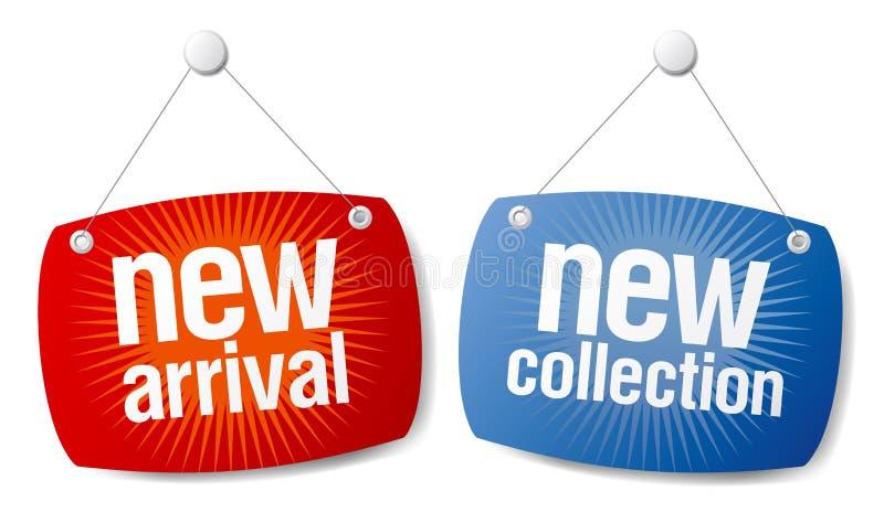 Nieuwe aankomst, nieuwe inzamelingstekens. stock illustratie