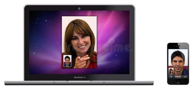 Nieuwe Appel MacBook Pro en iPhone 4 whit de Tijd van het Gezicht
