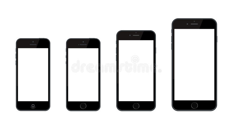 Nieuwe Apple-iPhone 6 en iPhone 6 plus en iPhone 5 vector illustratie