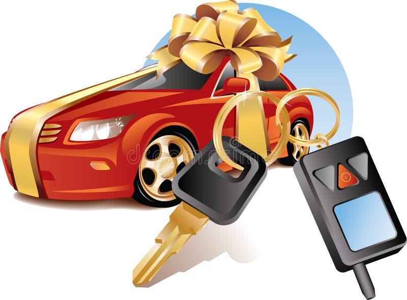 Nieuwe auto met sleutels stock illustratie