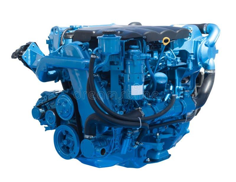 Nieuwe blauwe motor. Geïsoleerd op wit royalty-vrije stock fotografie
