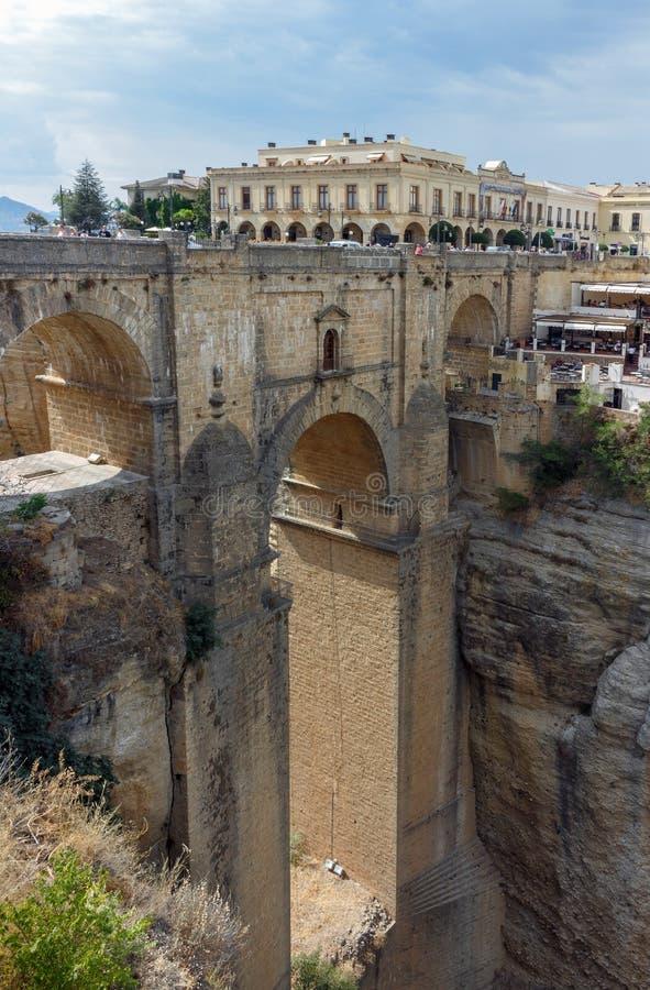 Nieuwe brug in Ronda stock afbeelding