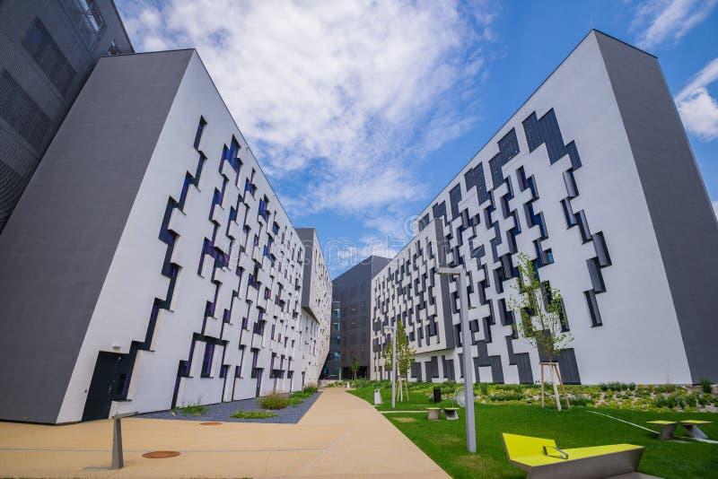 Nieuwe Campus WU, de Universiteit van Wenen van Economie en Zaken stock foto
